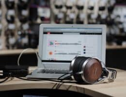 transcription business headphones and laptop