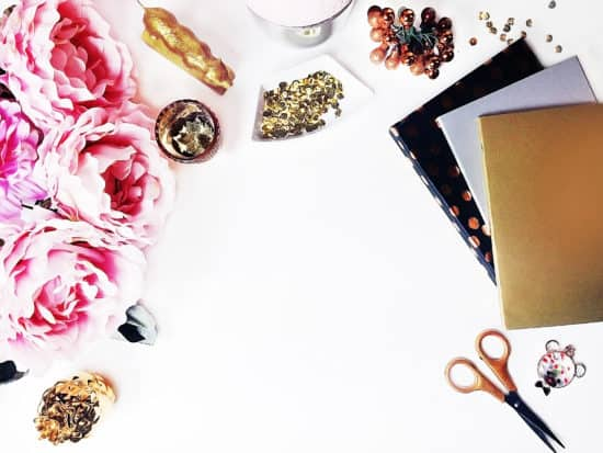 Free Styled Stock Photography Gold White and Pink Styled Desktop