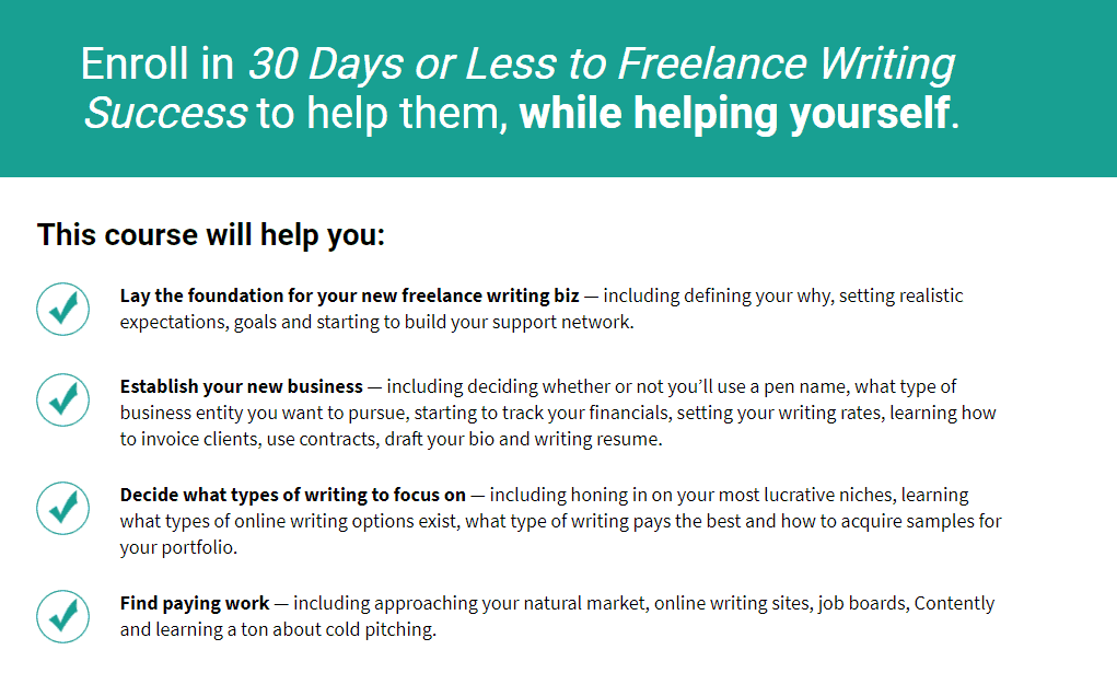 online courses websites - 30 days or less to freelance writing success