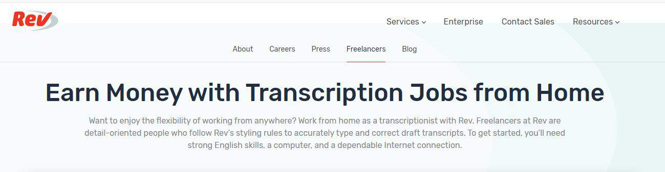 earn money with transcription jobs from home at rev