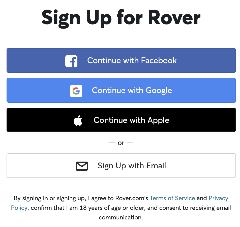sign up for rover