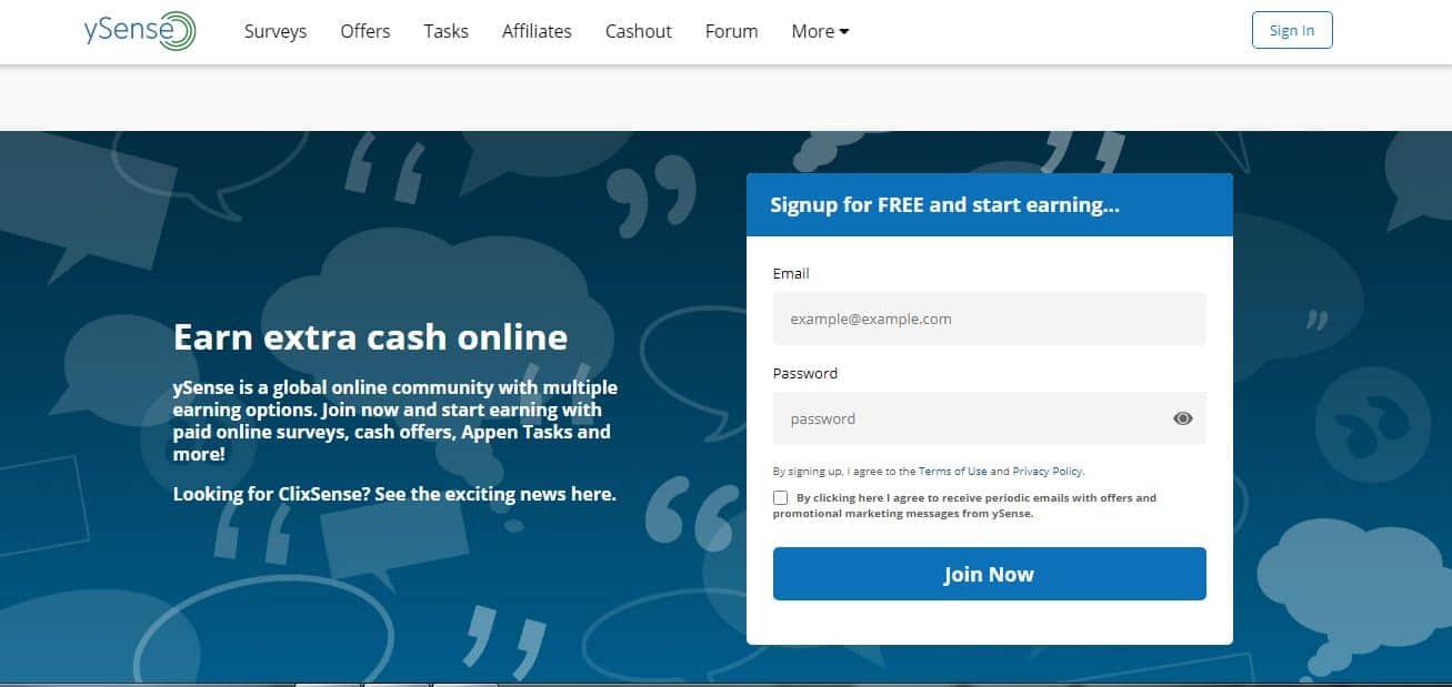 earn free cash online at YSense