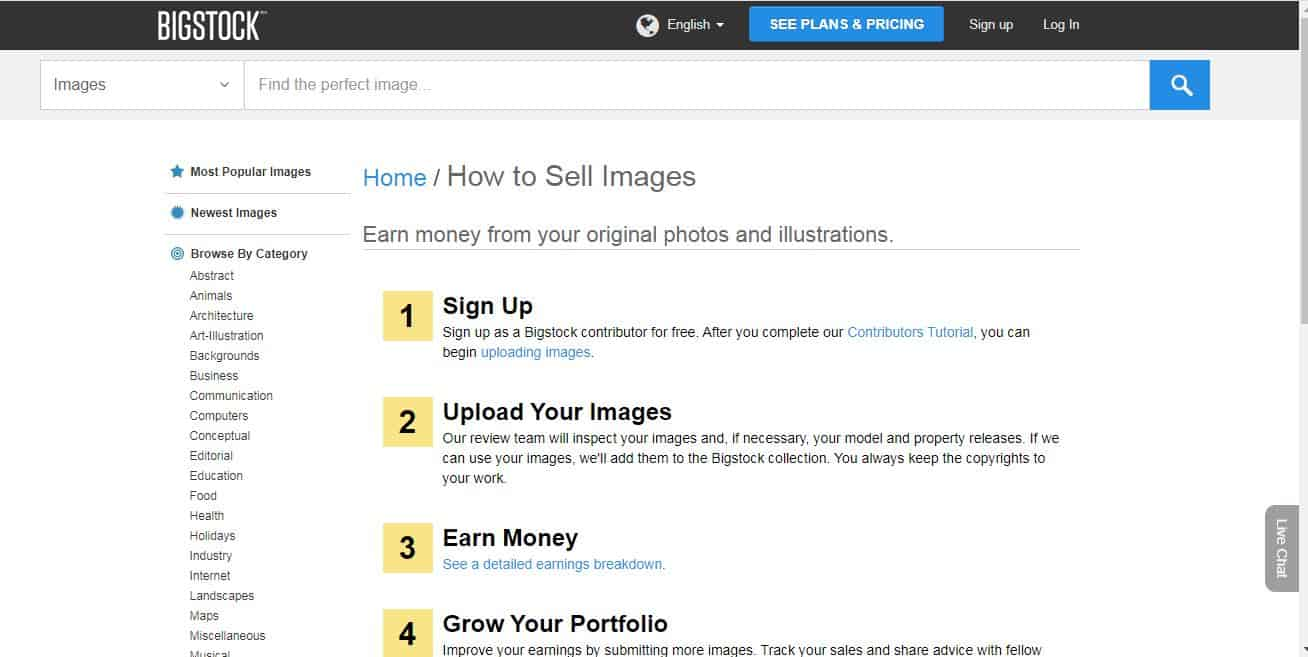 how to sell images on Bigstock