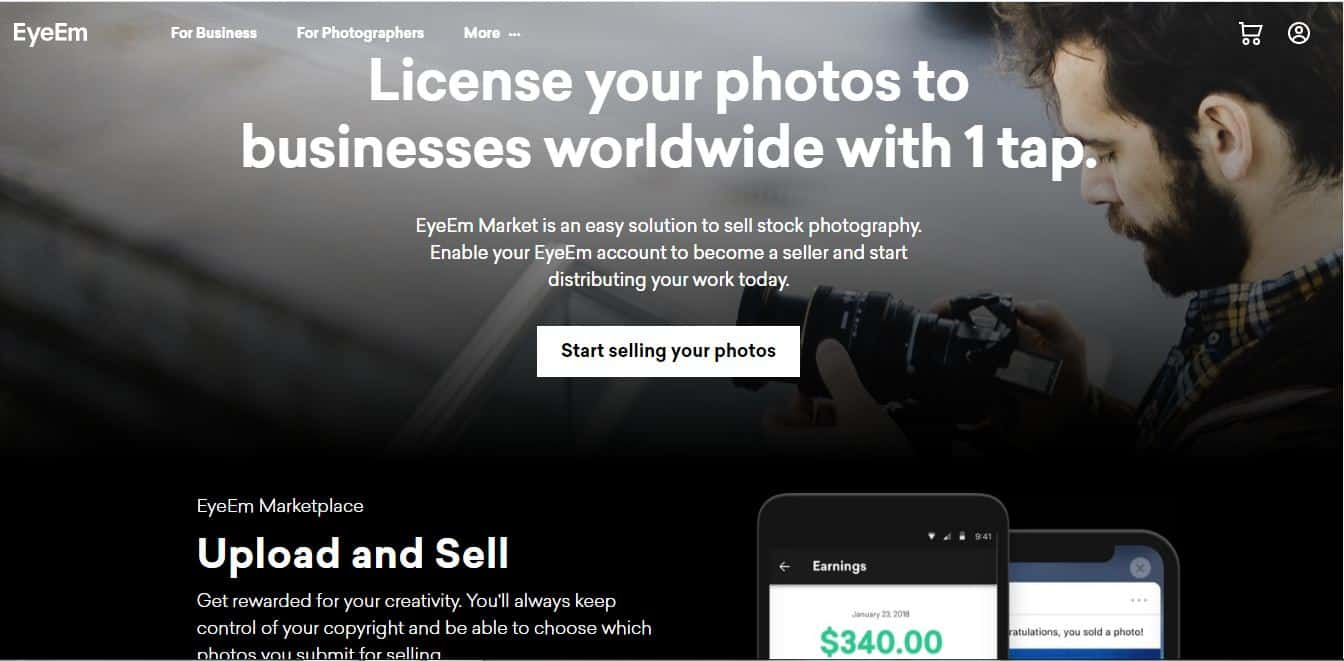 sell your stock images and photos on EyeEm and start making money online