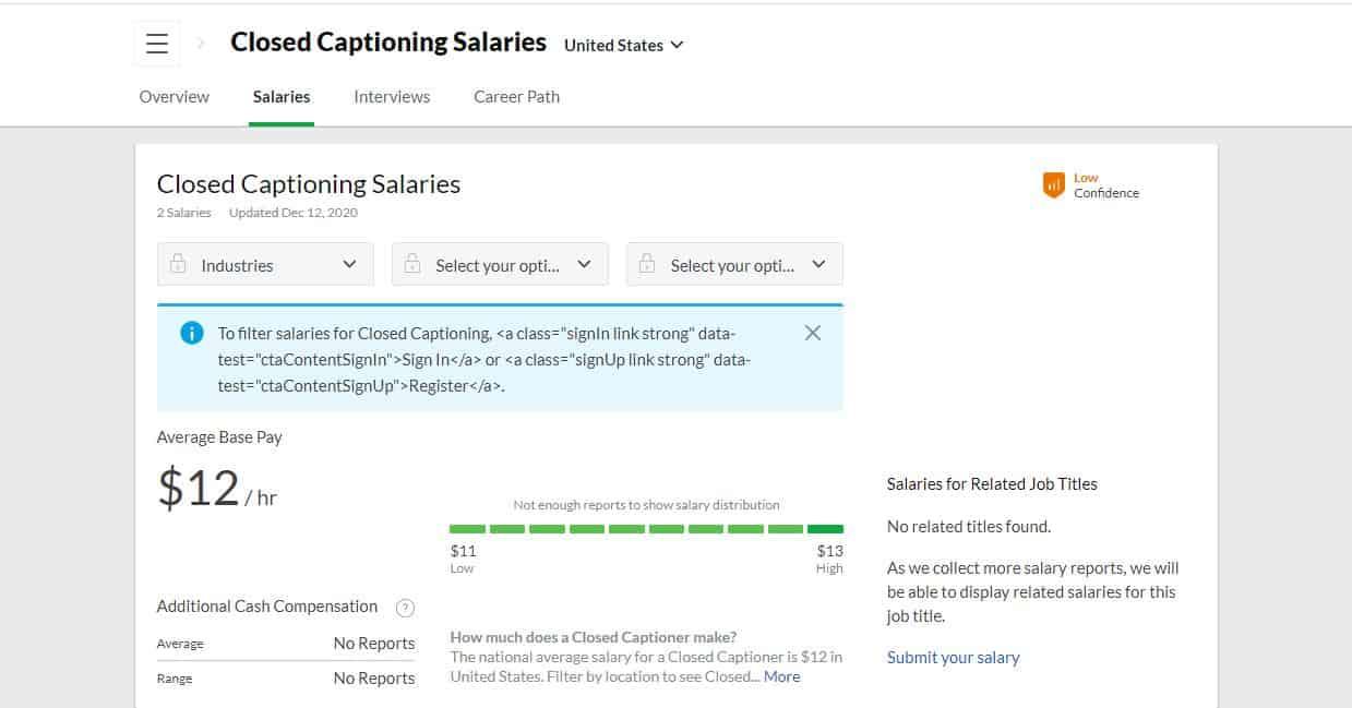 closed captioning job salaries at Glassdoor