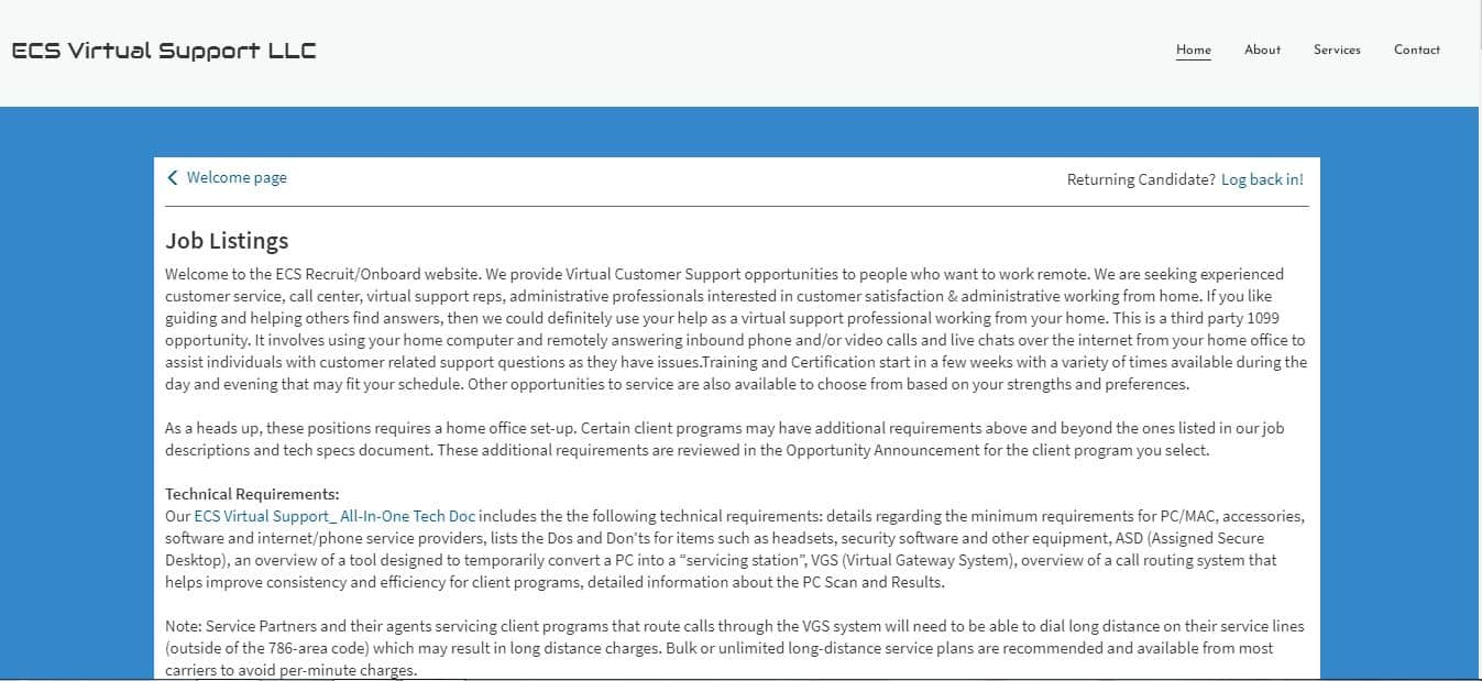 Live Chat Agent for ECS Virtual Support LLC
